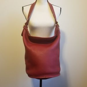 🌷{Vintage} Coach Duffle Sac Bucket Bag Red 9085